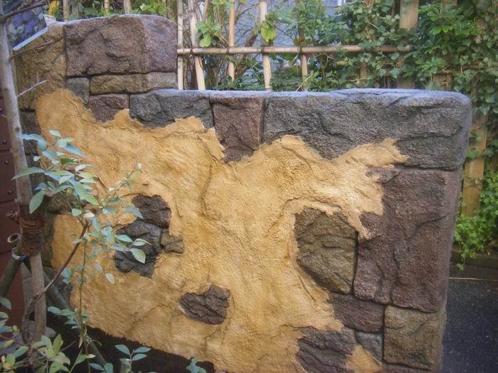 既存ブロック塀のリフォーム(モルタル造形)