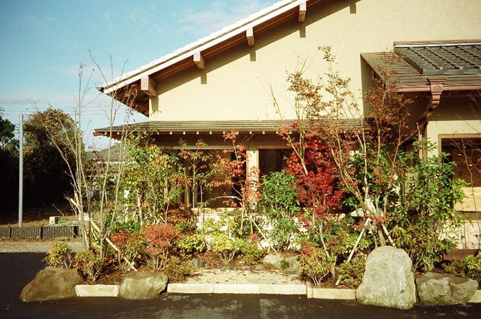 お蕎麦屋の前庭(蹲も配して景色を演出)