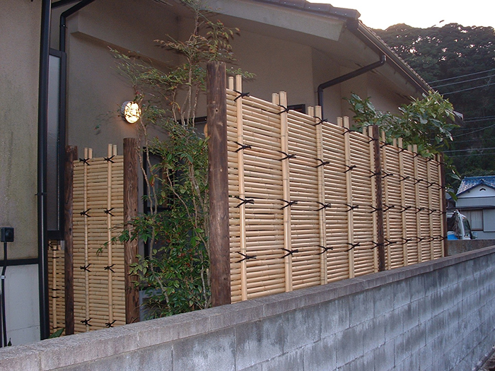 御簾垣(さらし竹)の改修工事
